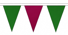 MID GREEN AND CLARET TRIANGULAR BUNTING - 10m / 20m / 50m LENGTHS